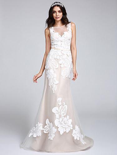 lang tin mermaid wedding dress