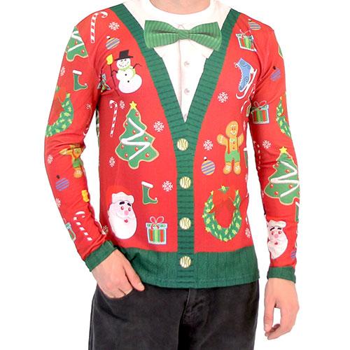 Christmas Cardigan with Bow Long Sleeve All Over Print Shirt