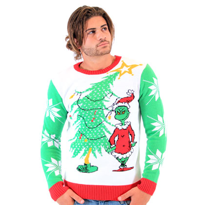 Dr Seuss Grinch As Santa Next To Tree Adult Off-White Sweater