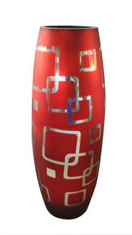 RED COLOR OVAL SHAPE GLASS VASE H 40 CM
