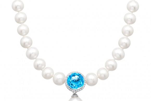 3 3/4 ct Topaz & 1/6 ct Diamond Pearl Drop Necklace