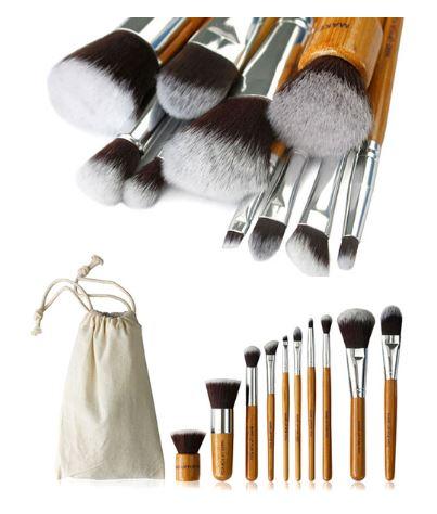 10 pc bamboo makeup brush set