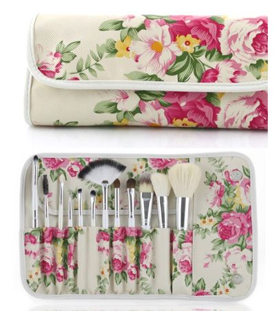 10 pc makeup brush set with floral travel case